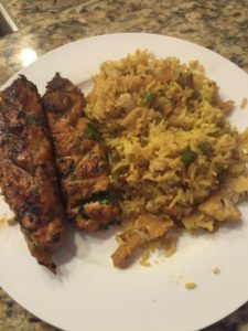 Vegetable Biryani & Grilled Chicken Kebabs